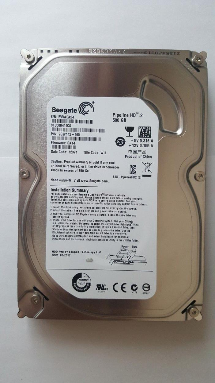 Seagate Pipeline HD. 2 ST3500414CS 500 GB Internal Hard Disk Drive 3.5