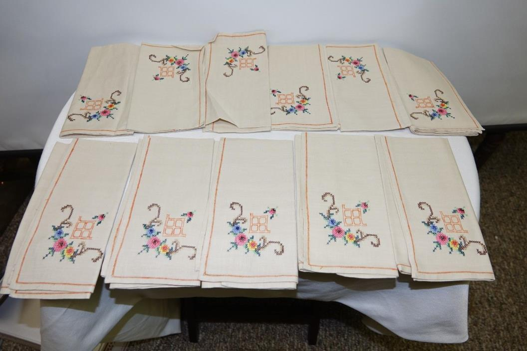 Vintage Linen Napkins Hand Made and Embroidered Set of 11