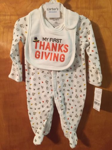 NWT - 2-Piece Set, Infant, Carter's Thanksgiving Sleep & Play & Bib, Newborn