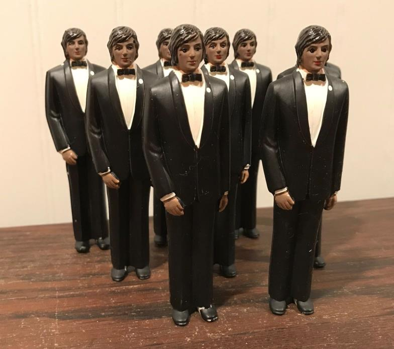 9 Vintage Wedding Groomsmen Groom Black Tux Cake Topper Decorations Lot# 41