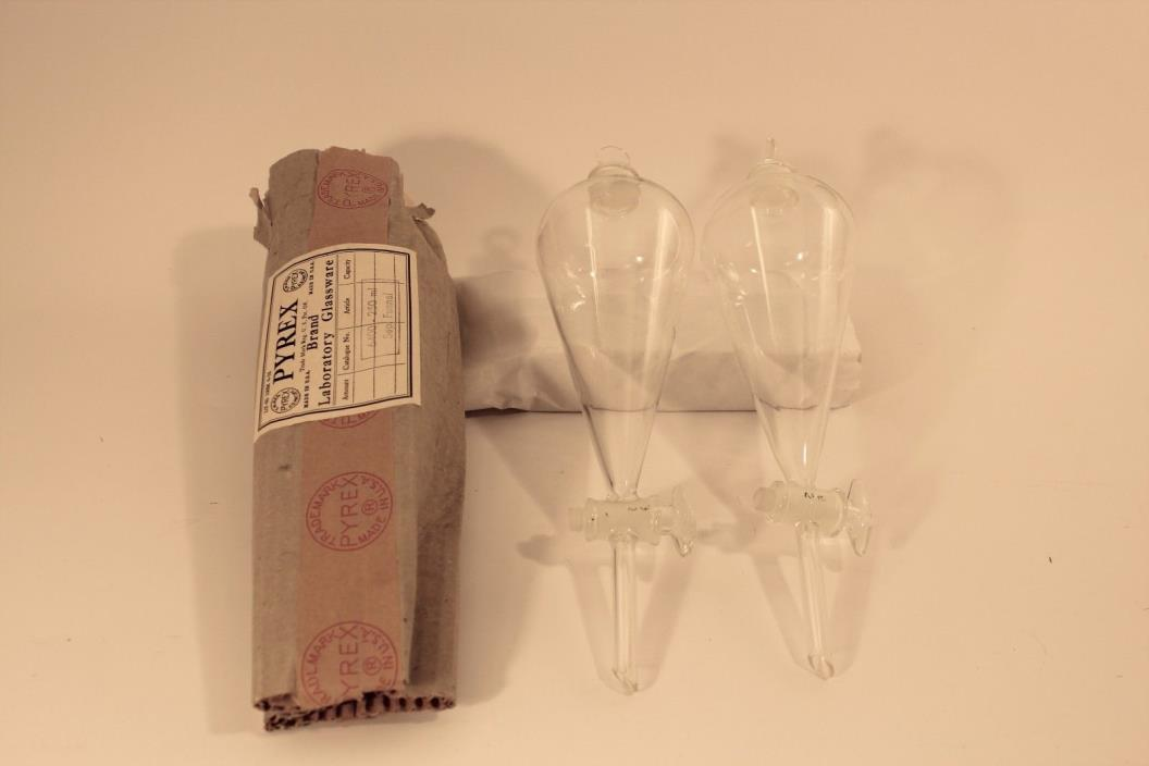 Lot of 3  Pyrex 250 mL Separatory  Funnel #6400
