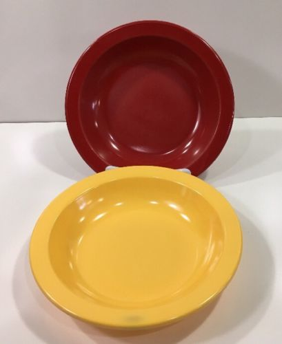 2 Dallas Ware Cereal Soup Salad Bowls B75 Primary Colors Yellow And Red USA