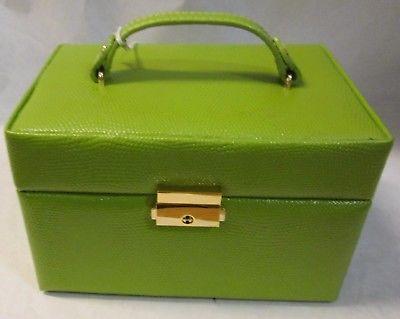 GENUINE LEATHER BUDD LEATHER JEWEL BOX W/ JEWEL ROLL GREEN
