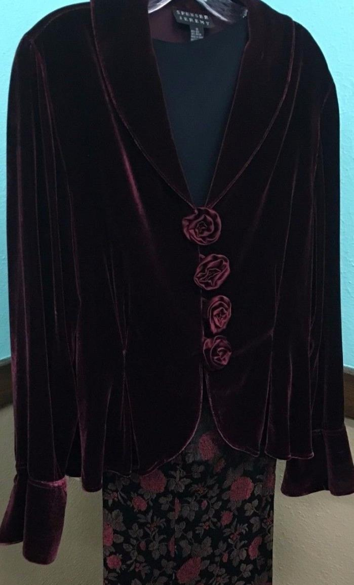 SPENSER JEREMY Burgundy Silk Velvet Evening Jacket w/4 Rose Closure Sz 16 EUC!