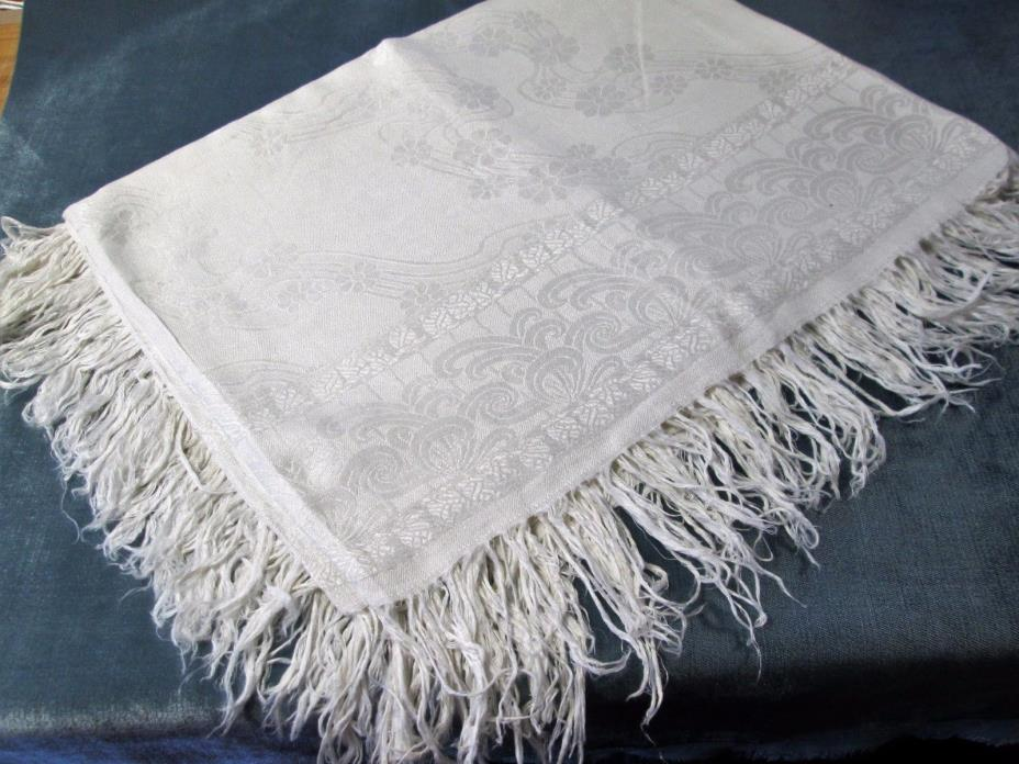 Antique Linen Damask Fringed Tablecloth Stylized Florals & Ferns Beautiful!