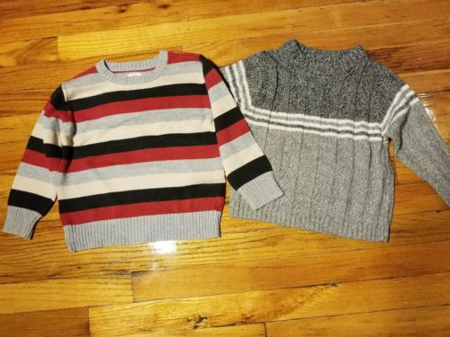Lot of 2 4T Boys Gray And Striped Sweaters Bt Kids Old Navy