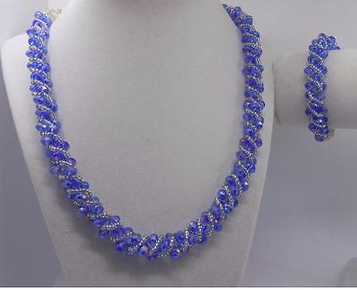 Sparkling Necklace And Bracelet Set With Twisted Blue Glass Beads