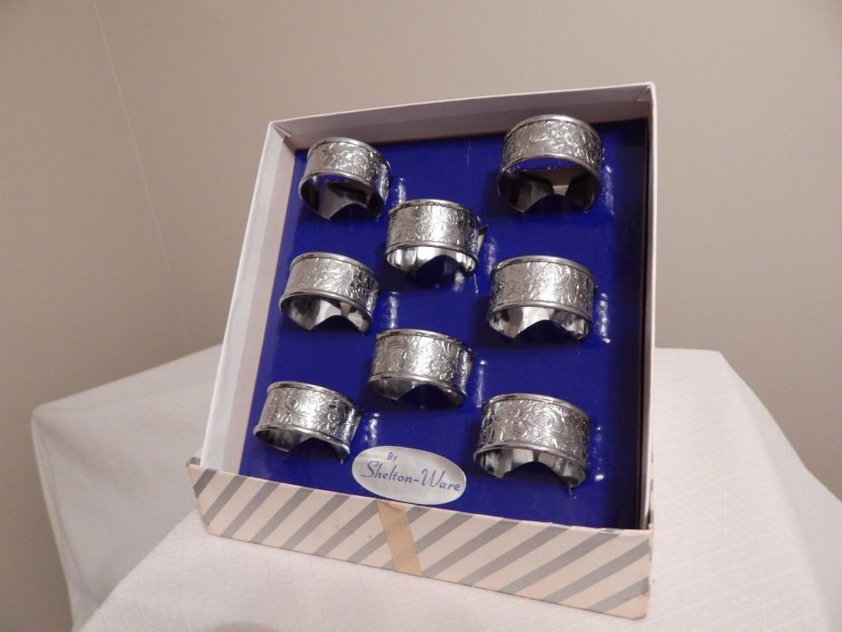 Box of 8 Vintage Napkin Rings - by Shelton -Ware