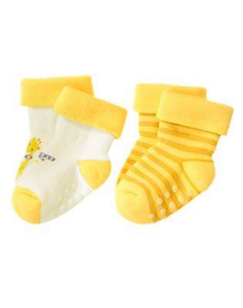 Nwt Gymboree Cozy Pals 2 Pack Giraffe and Striped Socks Size NB-0 Months