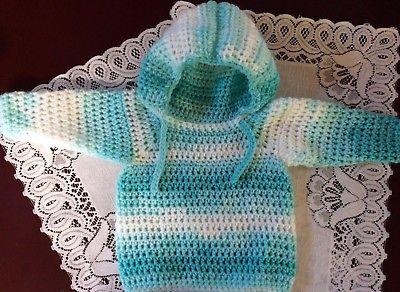 Handmade Crochet Long Sleeve Hoodie/Cardigan Newborn to 3 months Green Multi