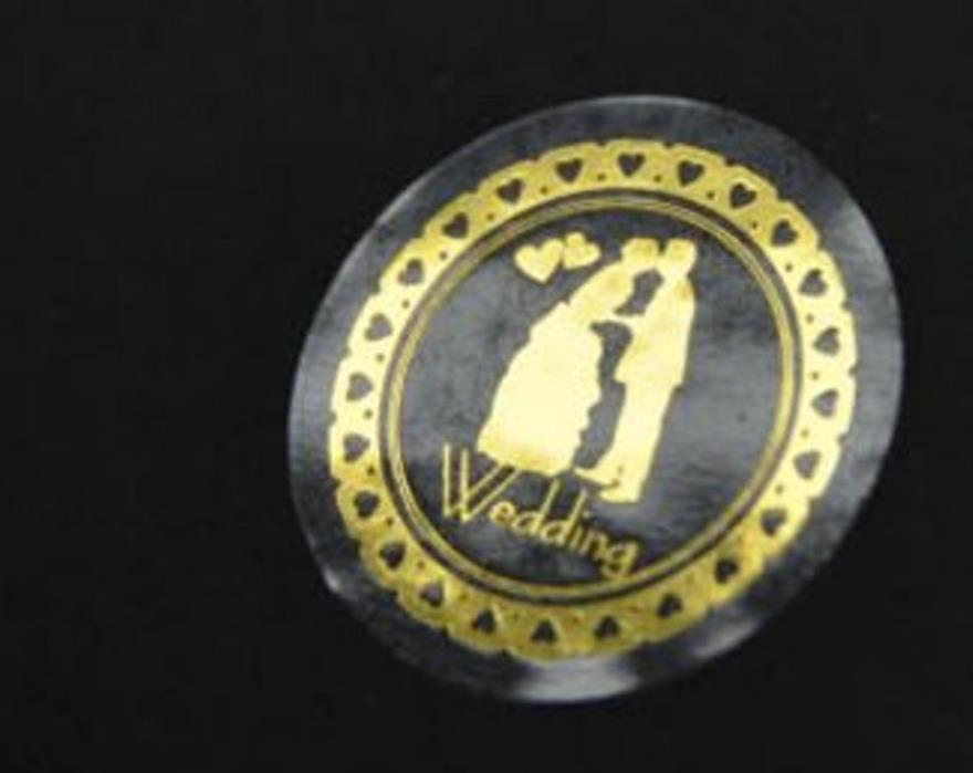 72-Gold or Silver Bride and Groom Wedding Round Stickers Envelope Seals Stickers