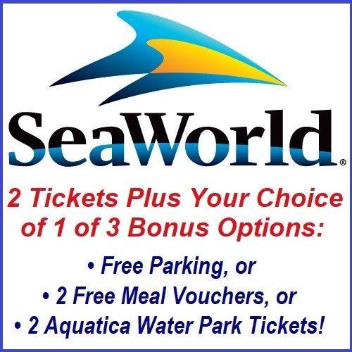2 SEAWORLD ORLANDO TICKETS FREE!  PLUS 1 OF 3 BONUS OPTIONS (READ DESCRIPTION)