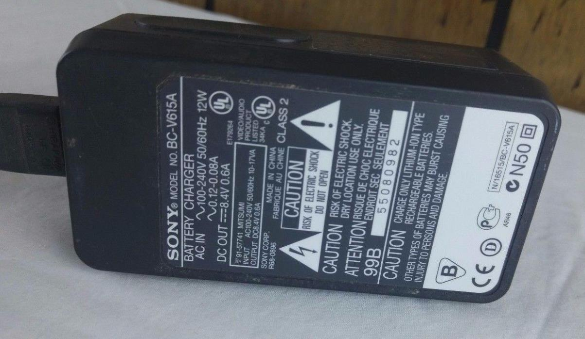 Sony Genuine OEM BC-V615 Camcorder Battery Charger W Battery 8.4V .6A & Cord