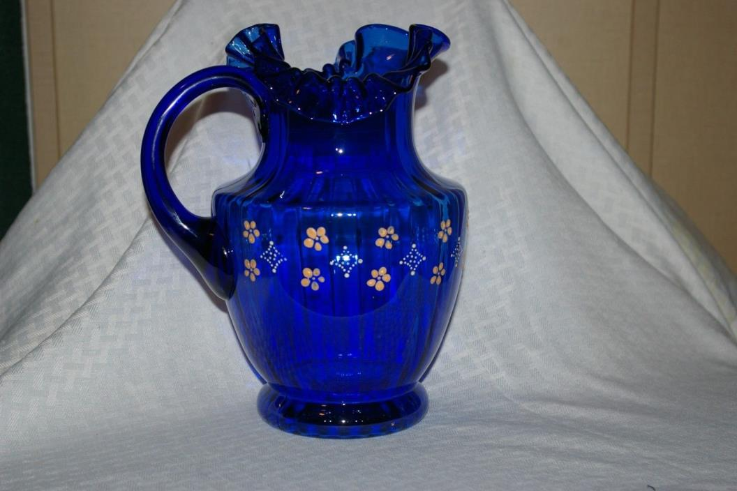 COBALT BLUE FLUTED WATER PITCH DECORATIVE HANDPAINTED FLOWERS