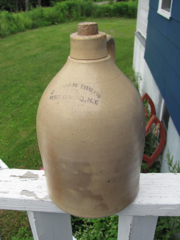 OTTMAN BROS. & CO. Fort Edward NY Stoneware Handled JUG 12 Inches Tall