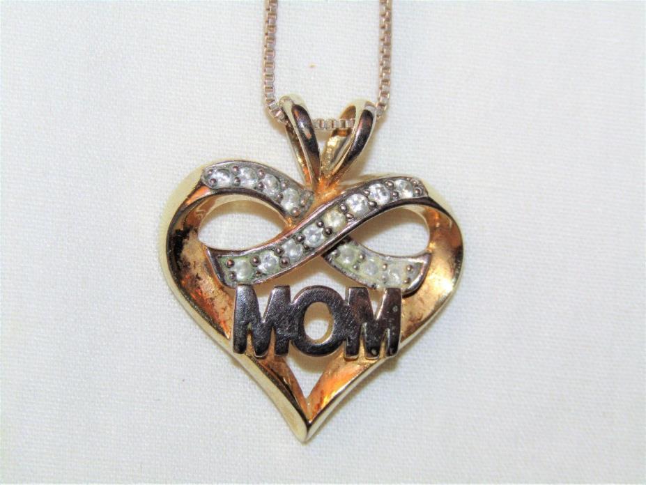 Estate Vintage Designer 925 Sterling Silver Cubic Zirconia Mom Heart Pendant