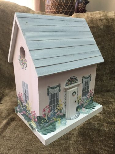 Lovely Country Cottage Birdhouse Garden Deco Pastels & Painted Florals 12x9.5x7