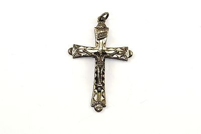 VINTAGE LARGE INRI CATHOLIC CRUCIFIX CROSS PENDANT 925 STER SILVER PD 1330-E