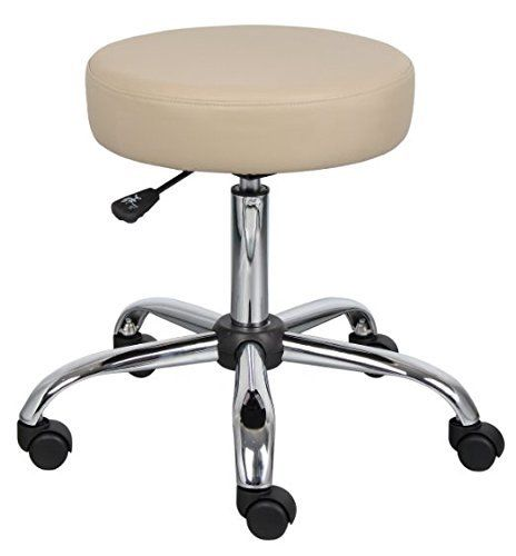 Boss Medical Doctor, Lab, or Dentist Office Rolling Stool Seat Chair - Beige