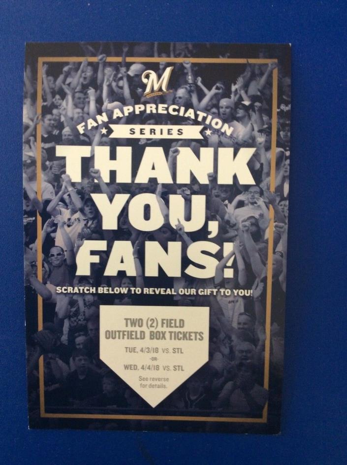 1 Voucher = 2 2018 Milwaukee Brewers Field Outfield Box Tickets Fan Appreciation