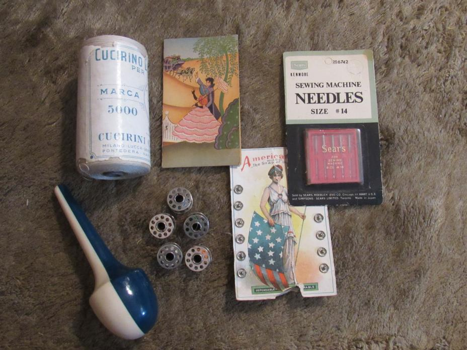 GOOD MIXED LOT > BOBBINS, DARNER, MILANO THREAD, NEEDLES, SNAPS & NEEDLE KIT
