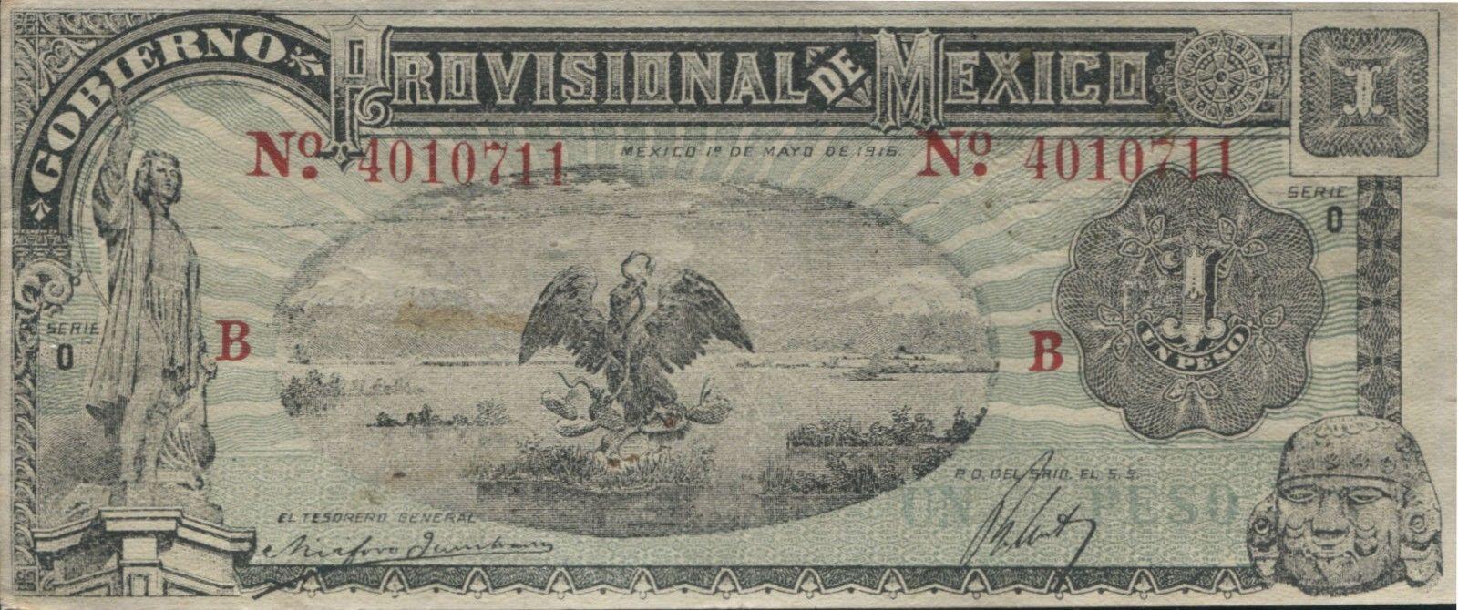 Mexico P-S709 Gobierno Provisional De Mexico 1 Peso  XF