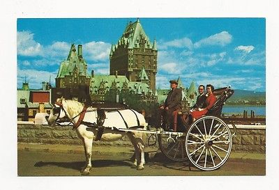 NEAT UNUSED POSTCARD FROM CANADA CALECHE HORSE AND BUGGY IN QUEBEC