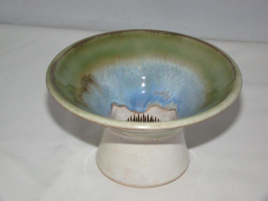 Vintage Signed Ceramic Pottery Flower Frog Metal Spike Planter Centerpiece