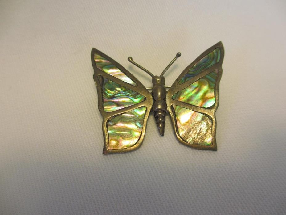 Vintage Taxco Mexico Sterling SILVER & MOTHER OF PEARL BUTTERFLY PIN OR BROOCH