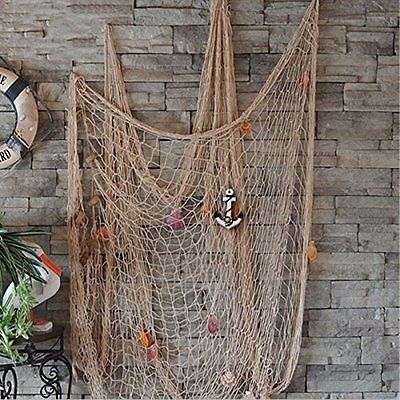 Mediterranean Style Decorative Fish Net With Anchor And Shells White