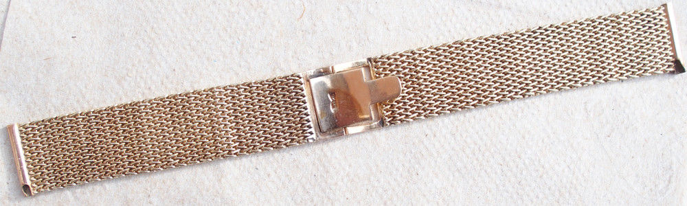 10 Karat Gold Mesh Watch Bracelet Band Vintage For All Major Makes 17.5 mm Lugs