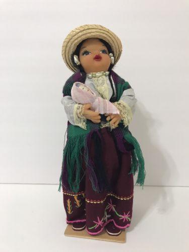Vintage Ecuador Cloth Doll Ethnic South America Chola Mama Baby Folk Art Doll