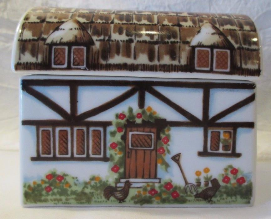 VINTAGE PORCELAIN HAND PAINT FLOWERS ENGLISH COTTAGE CHICKENS SUGAR PACKAGE DISH