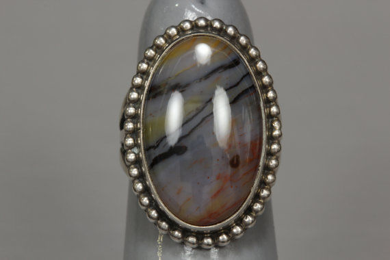 Vintage Agate Sterling Silver Ring Southwestern Size 5