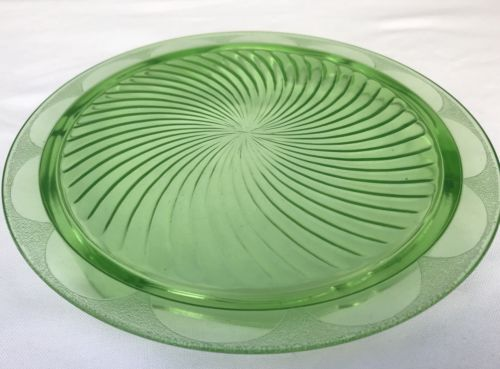 Vaseline Glass Footed Tray Dish