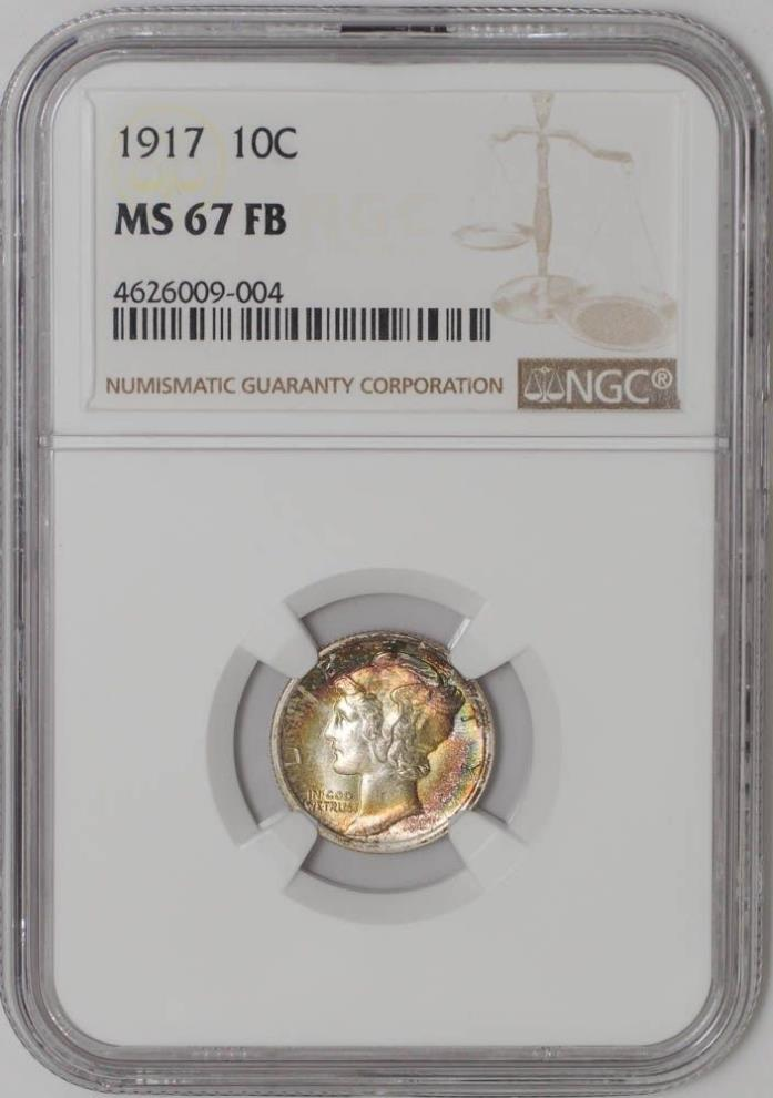 1917 Mercury Dime 10c MS67 FB Color NGC