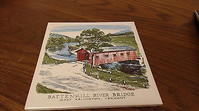 Battenkill river Covered Bridge VT Tile Trivet VINTAGE signed R Brooks  #18