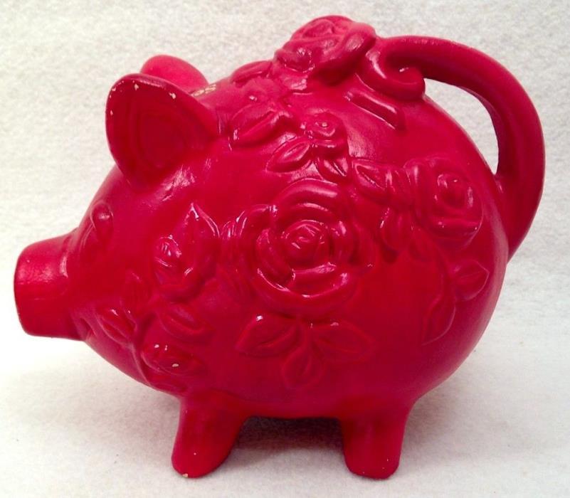 Vintage '60s Red Roses Piggy Bank Pharmaceutical Advertising Novelty Ser-Ap-Es