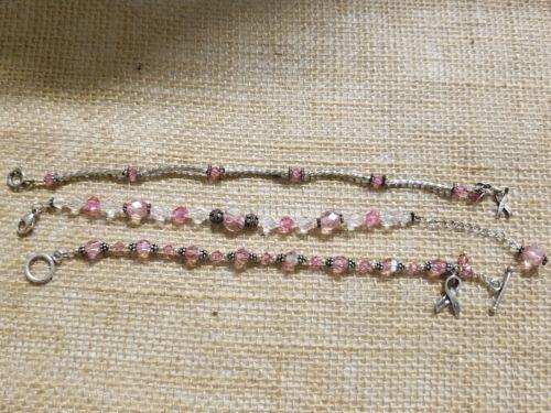 Pink ribbon HOPE sterling silver bracelet