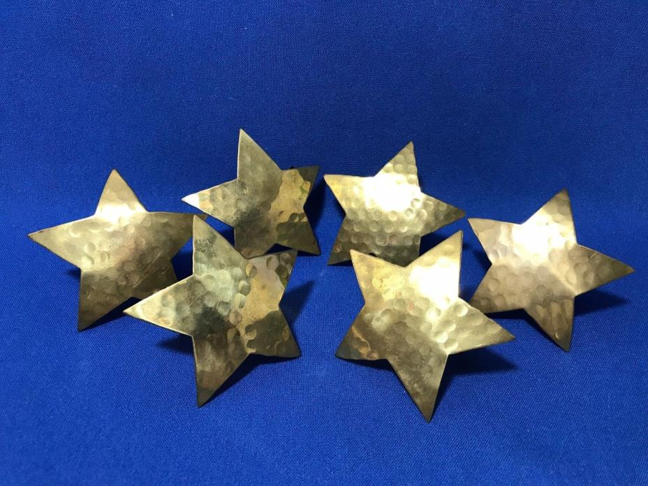 Lot of 6 Rustic Hammered Brass Star Stand Alone Napkin Holders