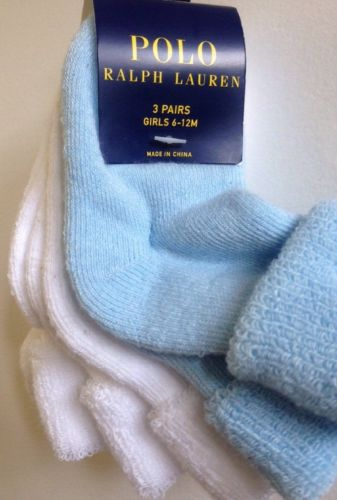 Polo Ralph Lauren Infant Girls 3-Pk White/Blue Terry Socks Sz 6-12 Months