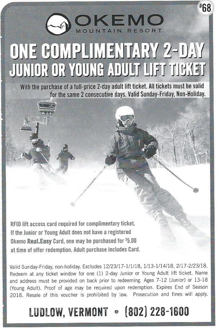 Okemo VT - Free 2 day Youth lift Ticket with adult ticket purchase