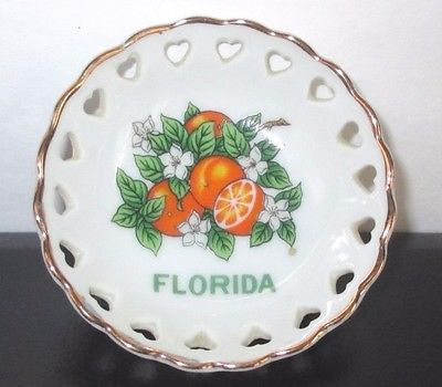Reticulated Pin Dish Oranges Hearts Japan White Ceramic Dixie Florida Souvenir