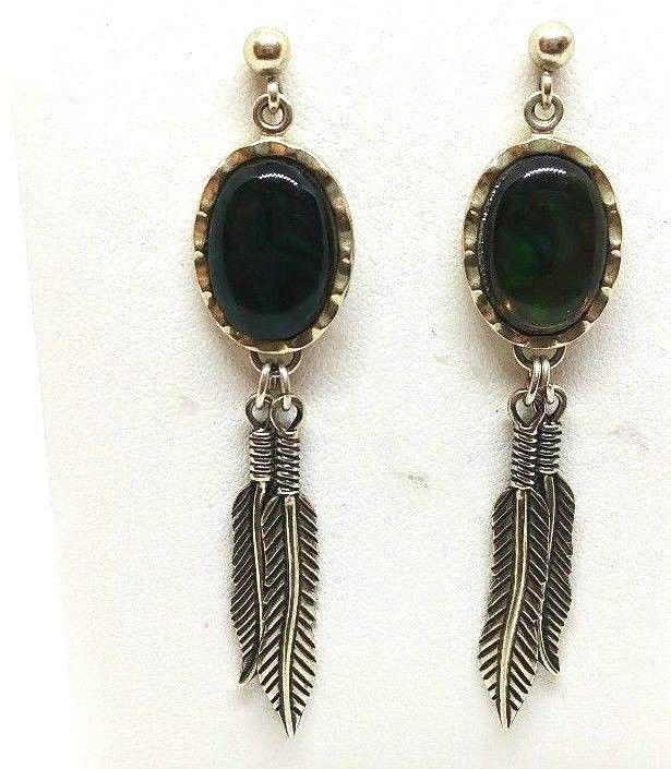 Wheeler Manufacturing Co. WM Sterling Silver Drop Dangle Feather Concho Earrings