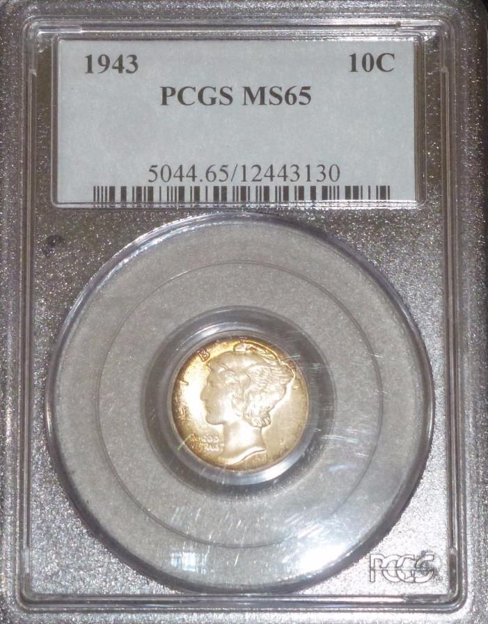 1943 10C Mercury Dime Blazing Lustrous Gem BU!! PCGS MS65    (5561)