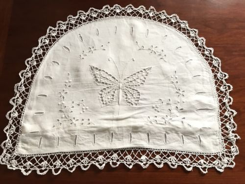 Beautiful VINTAGE HAND EMBROIDERED White Cotton NIGHTDRESS CASE CUSHION COVER
