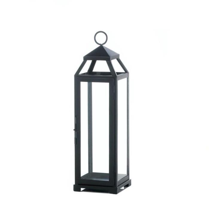 Lot of 8 Black Contemporary Lean & Sleek Large Pillar Candle Lanterns