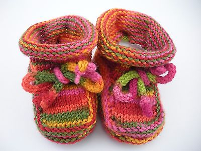 BABY Classic Hand Knitted BOOTIES Rainbow Striped size  3 - 6 month