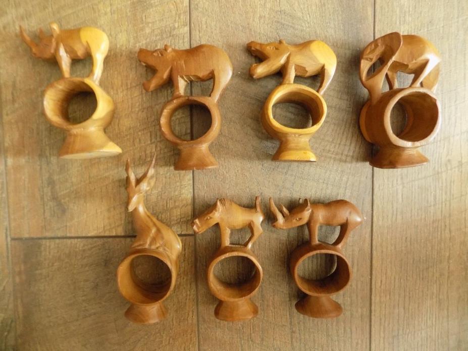 Set of 7 Handmade Wood African Safari Animals Napkin Rings Elephant Rino Hipo