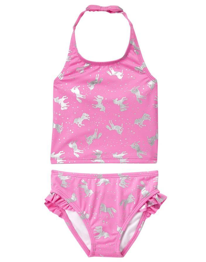 NWT Girls Gymboree 2pc Sparkly Unicorn Tankini Swimsuit sz 3t